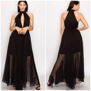 Banjul split front halter neckline dress